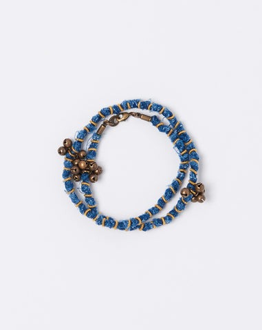 French Cloth Linen Bellberry Bracelet in Indigo