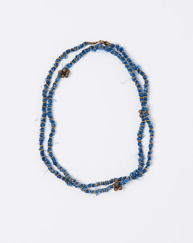 French Cloth Linen Bellberry Necklace in Indigo
