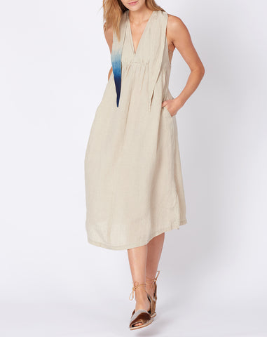 French Cloth Linen Dress in Ecru