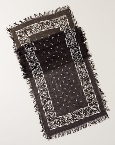 Fringe Bandana Stole in Black