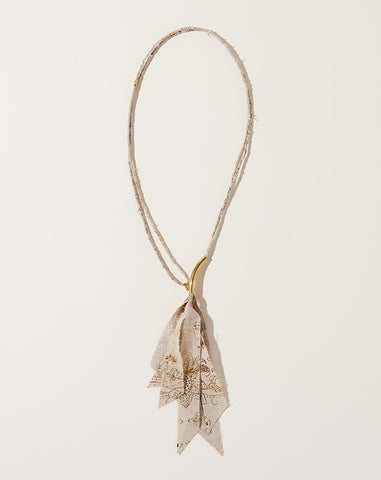 Gold Print Fabric Necklace in Natural