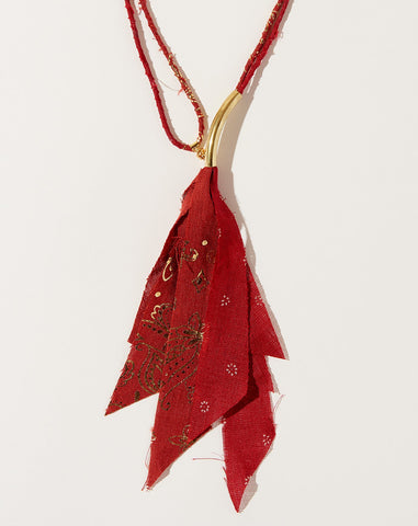 Gold Print Fabric Necklace in Red