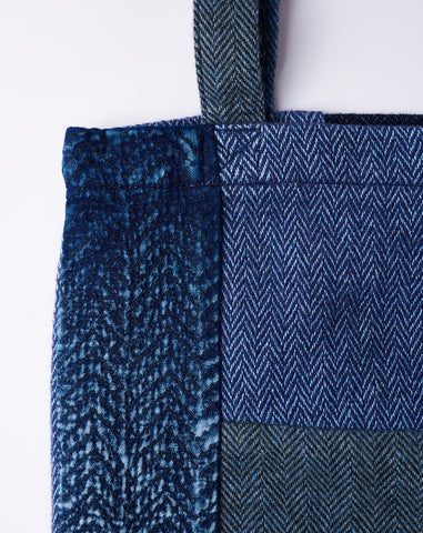Kogin Tweed Patchwork Tote Bag in Indigo