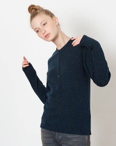 Lambs Wool Jersey Henley T in Navy