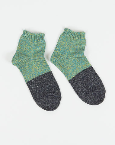 Linen Two Tone Crew Socks in Turquoise