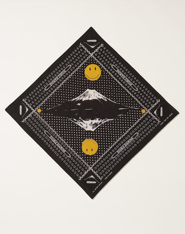 Mirrored Fuji Smile Fast Color Selvedge Bandana in Black