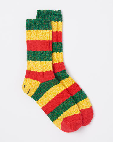 Rasta Smilie Socks in Red
