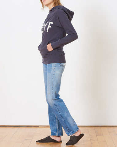 Fleecy Knit Sweatshirt in Navy