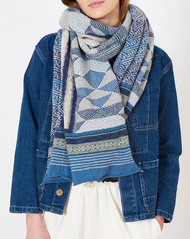 Tweed Kogin Cross Scarf in Navy