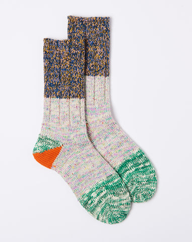 Two Tone Heel Socks in Green