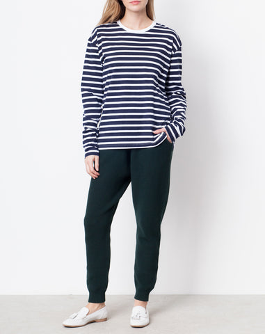 Kowtow Building Block Boyfriend Top in Navy and White Stripe