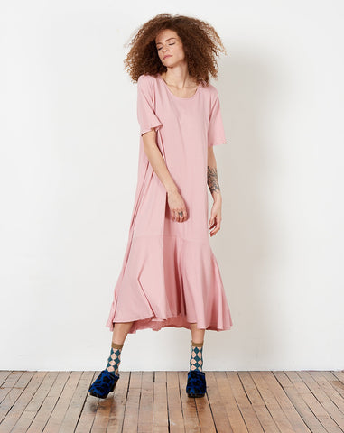 Flare Hem Dress in Chalky Pink