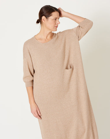 Big Crewneck Dress in Beige Melange