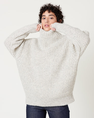 Fisherwoman Mockneck in Natural Grey