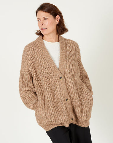 Grandma Cardigan in Natural Camel