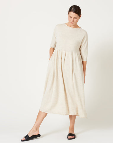 Long Sleeve Tier Dress in Ivory Flax