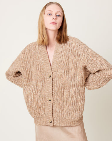 New Grandma Cardigan in Camel Melange