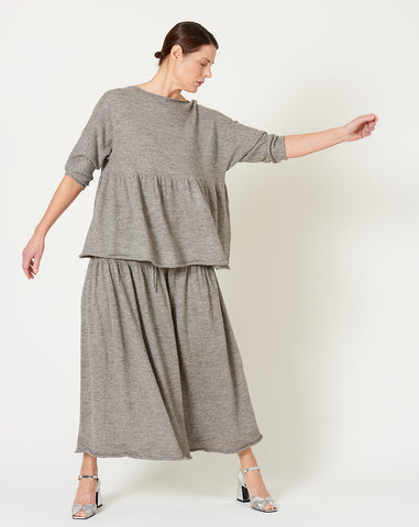 Tier Skirt in Grey Flax