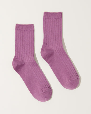 Her Socks in Orchid Mercerized Cotton