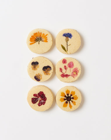 1/2 Dozen Flower Pressed Shortbread Cookies
