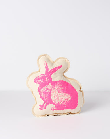Bunny Cushion in Neon Pink
