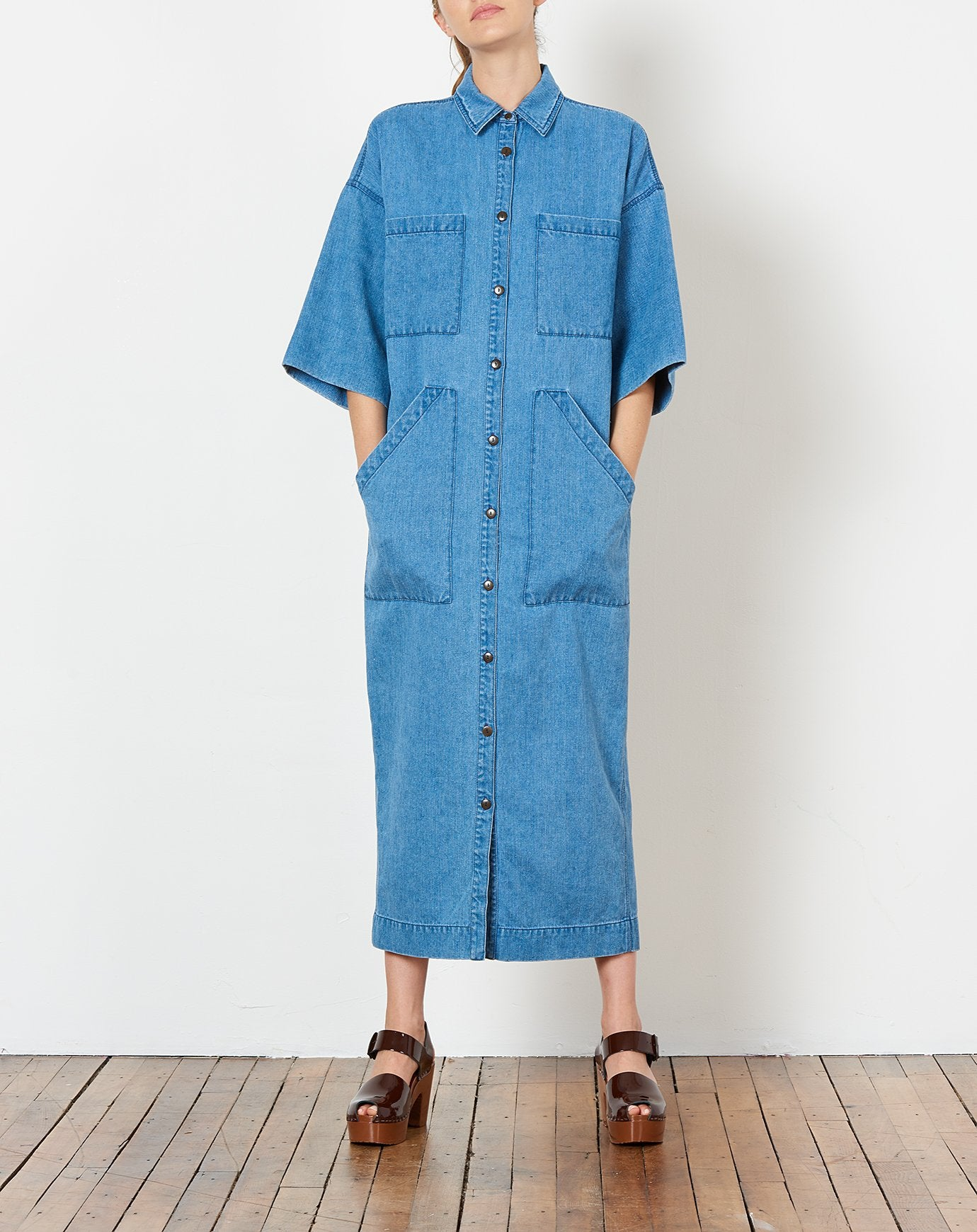Amelia Shirt Dress in Denim