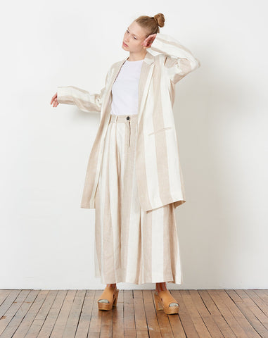 Bia Blazer in Cream and Khaki Plaza Stripe
