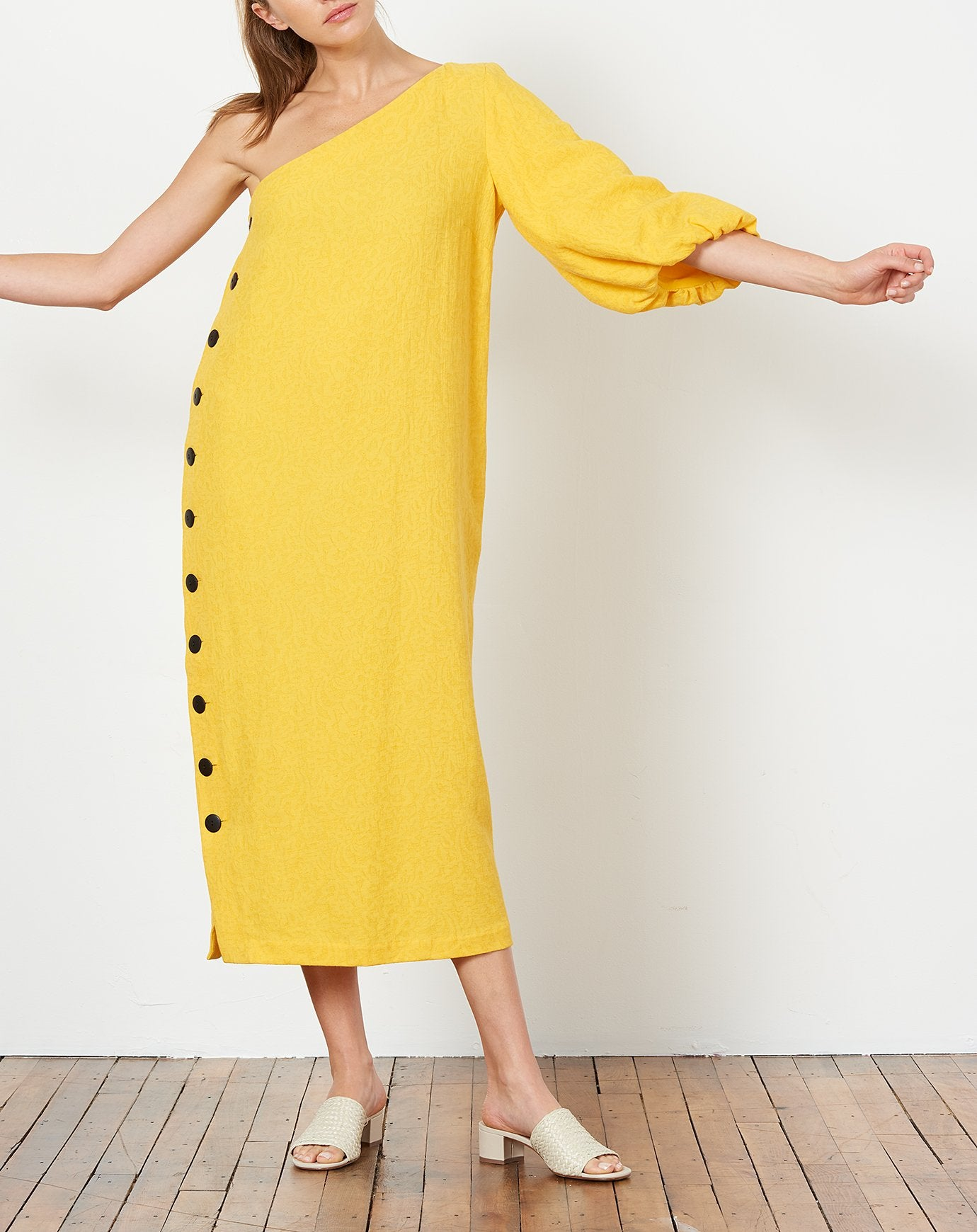 Emilie Dress in Yellow Jacquard