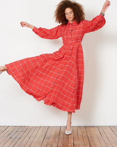 Lilian Dress in Red Grid Print