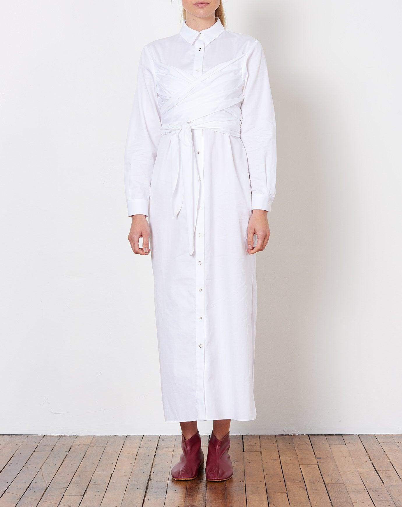 Lillian Shirt Dress In White Mara Hoffman Covet Lou