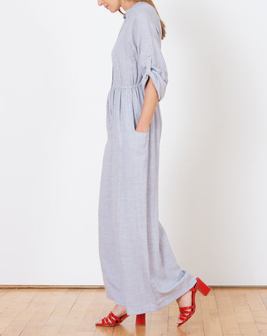 Placket Front Jumpsuit in Grey