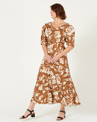 Sicily Dress in Olive Fiore Print