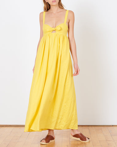 Tie Front Maxi Dress in Yellow
