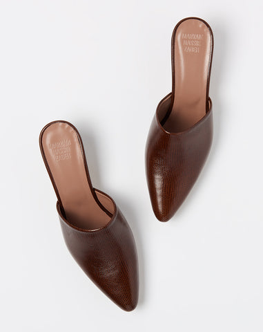 Andrea Mule in Brown Faux Lizard