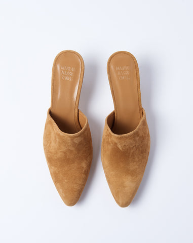 Andrea Mule in Honey Suede