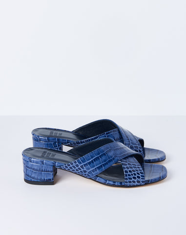 Lauren Slide in Navy Faux Croc