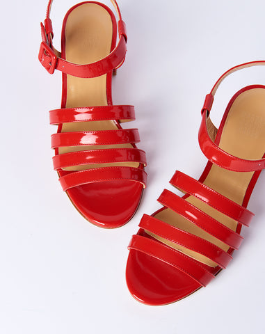 Palma Low Sandal in Cherry Patent