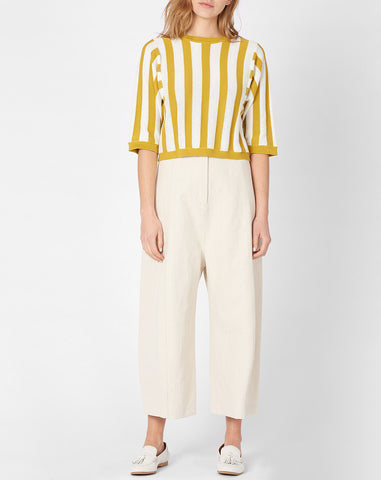 Micaela Greg Reverse Striped Sweater in Citron and Cream