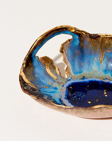 Small Dilapidated Iceland Bowl in Waterfall with Gold Splatter