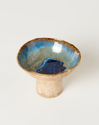 Small Pedestal Bowl in Waterfall with Gold