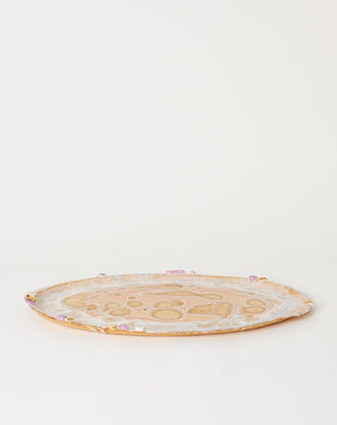 X-Large Ambrosia Oval Platter with Lilac Crust in Beach