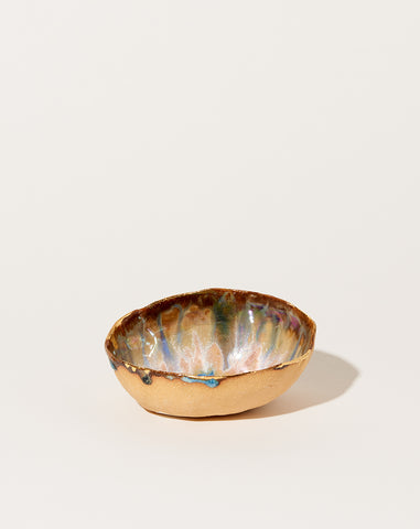 Extra Small Iceland Dish in Blue Lagoon with Gold Rim