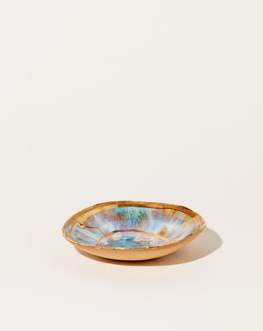 Extra Small Round Iceland Dish with Gold Ripples