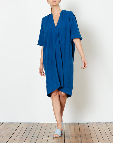 Muse Dress in Dark Indigo Silk Noil