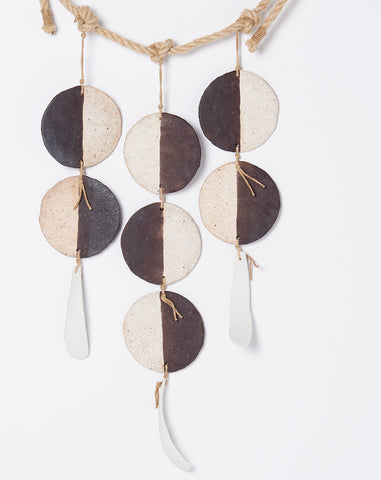 Three Strand Hanging Discs in Black and White