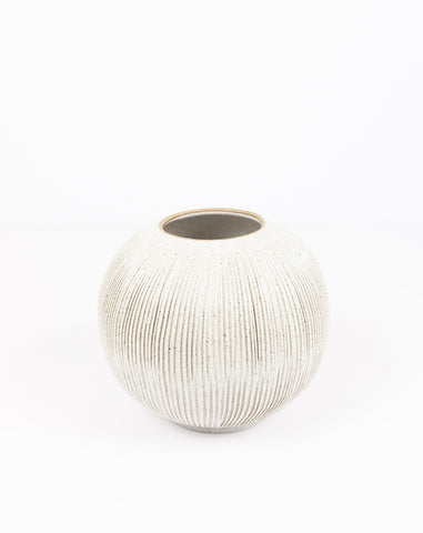 8 Inch Moon Vase in White Speckle