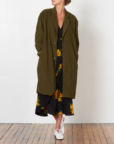 Hill Cord Trench Coat in Camo