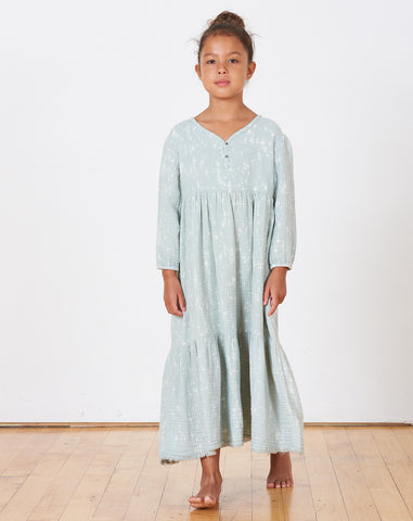 Kids Athena Speckled Dress in Sky