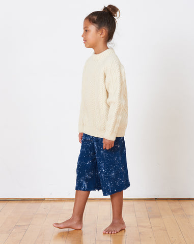Virgo Speckled Culottes in Indigo