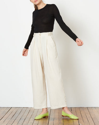 Winslow Silk Pleated Trouser in Natural